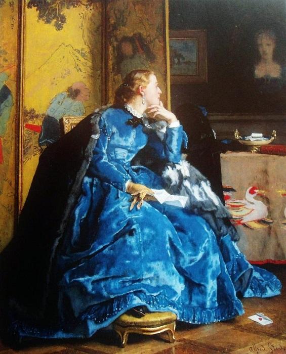 Дама в голубом. А. Стевенс. | Фото: maxpark.com.