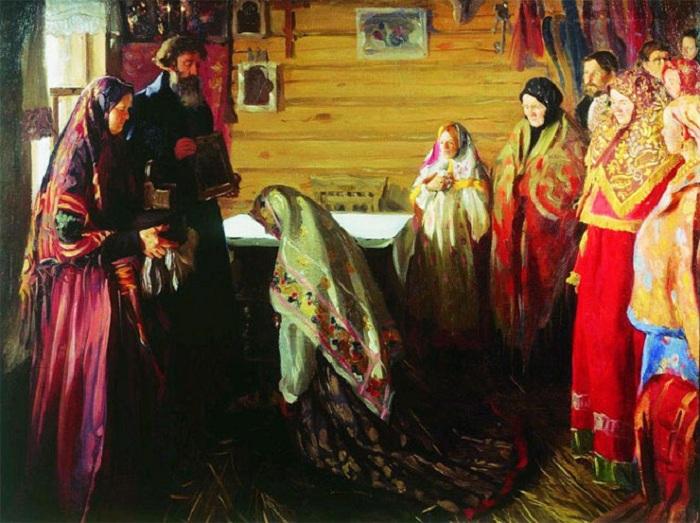 Старинный обряд благословения невесты. И. С. Куликов. | Фото: milana-kulyova.livejournal.com.