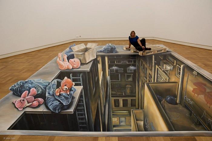 3D-композиция, нарисованная на полу музея Арнхем (Нидерланды).