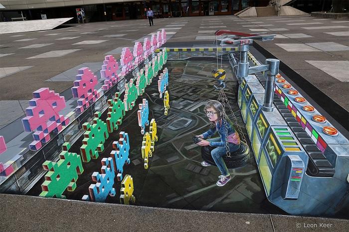 Тема видеоигр, нарисованная в 3D.