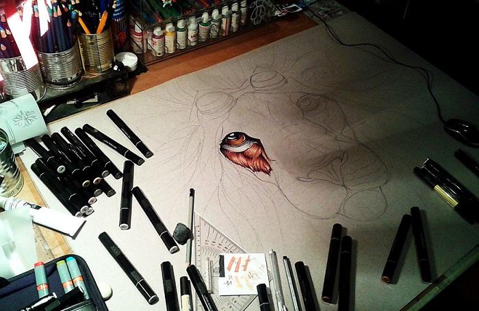 Поэтапные кадры создания рисунка.