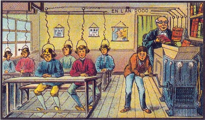 Дети получают знаний по проводам прямо в мозг.