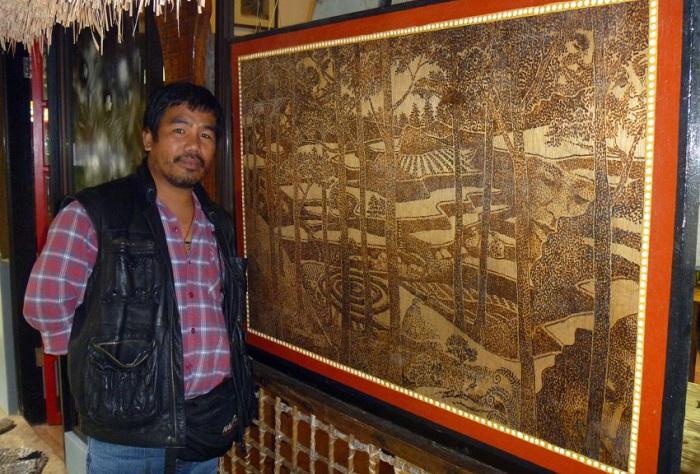 Солнечная пирография - творчество филиппинского художника.