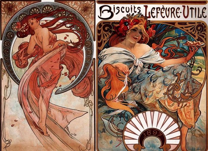 Рекламные плакаты в стиле ар-нуво, выполненные Альфонсом Мухой. | Фото: thevintagenews.com.