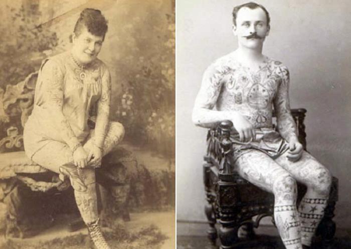 Нора Хильдебрандт и неизвестный мужчина в татуировках.