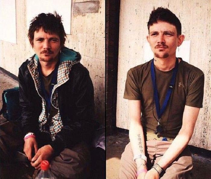 Снимок до и после стрижки.