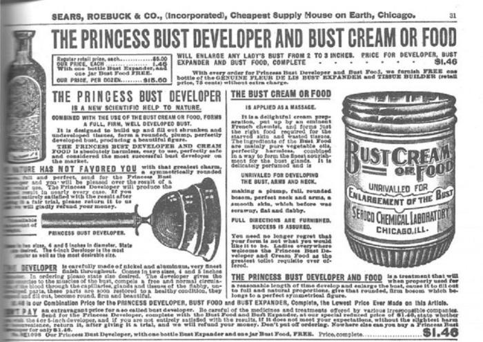 Реклама крема для роста груди и приспособления в виде вантуза. | Фото: godzilla.org.ua.