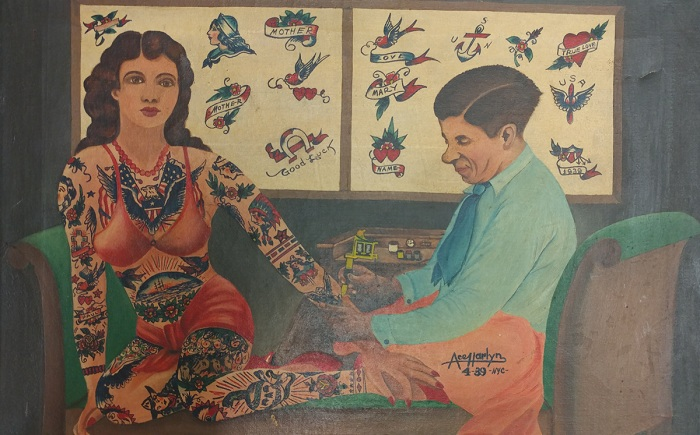 Чарльз Вагнер делает татуировку Милли Халл. Худ. Ace Harlyn, 1939 г.