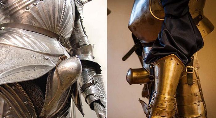 Рыцарские доспехи с металлическим гульфиком.