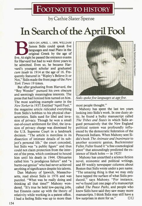 Уильям Сидис стал студентом Гарварда в 11 лет.