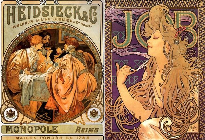 Реклама товаров, оформленная Альфонсом Мухой.   Фото: thevintagenews.com.