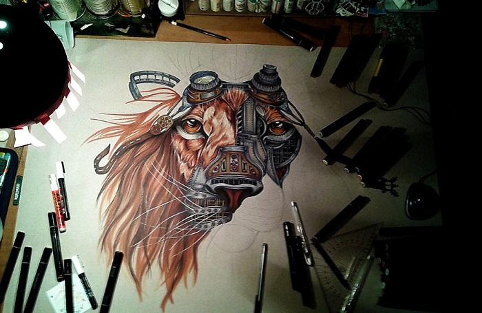 Steampunk-лев. Рисунок от румынской художницы.