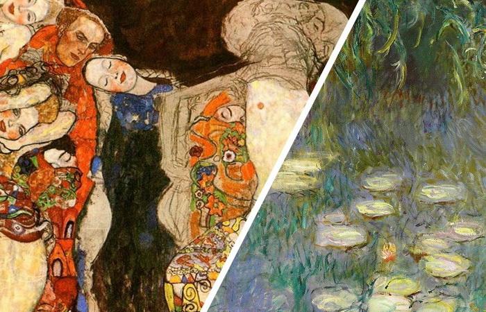 Слева: Г. Климт «Невеста», справа: К. Моне «Кувшинки».
