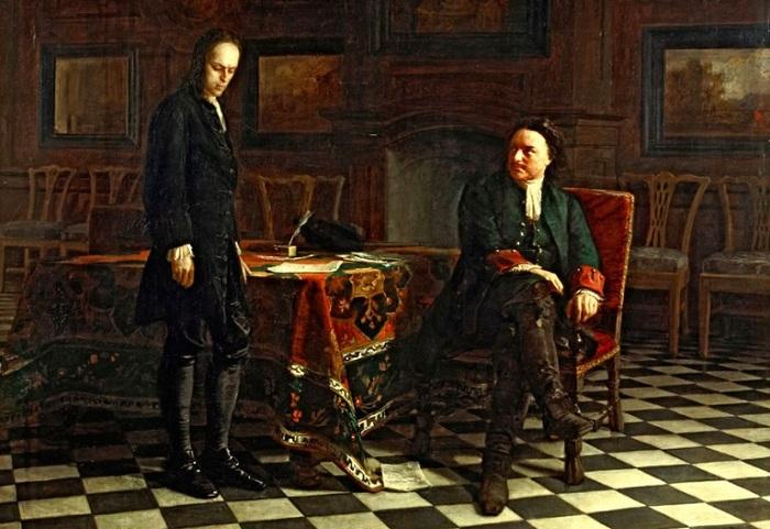 Петр I допрашивает царевича Алексея в Петергофе. Ге Н. Н., 1871 год.