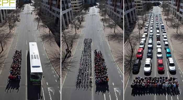 Акция против растущего числа машин на городских дорогах.