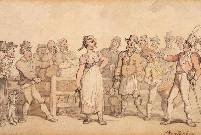 Продажа жены. Томас Роулендсон, ок. 1812-1814 гг. | Фото: aloban75.livejournal.com.