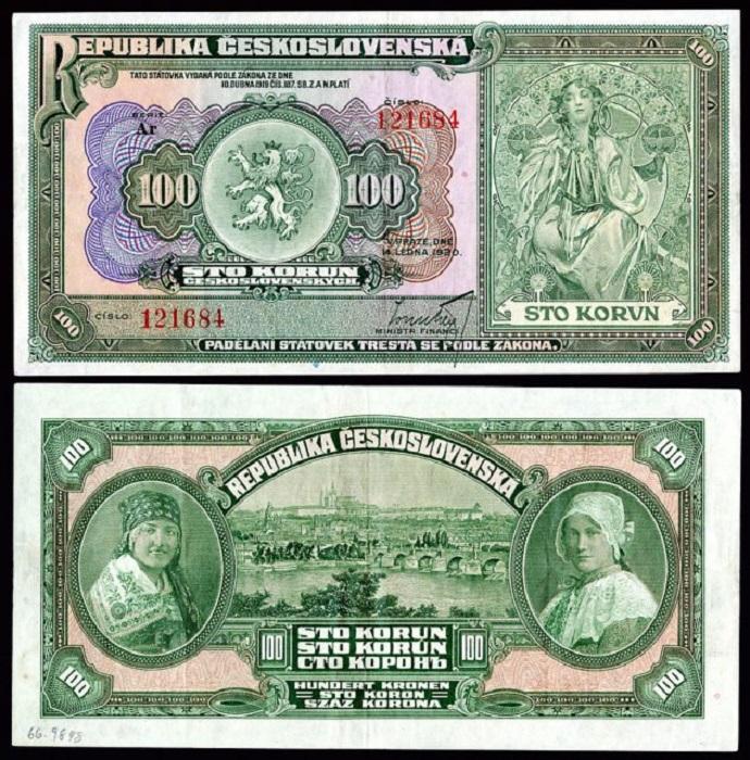Дизайн денежной купюры номиналом в 100 крон от Альфонса Мухи, 1920 год.   Фото: thevintagenews.com.