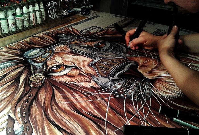 Процесс создания стимпанк-льва.