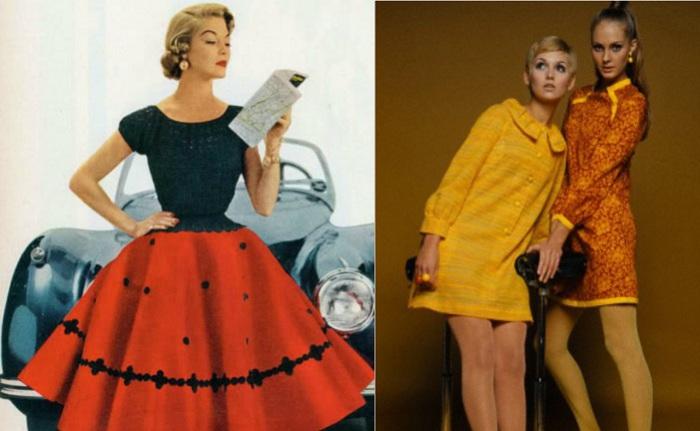 Модные силуэты 19550-60-х гг.