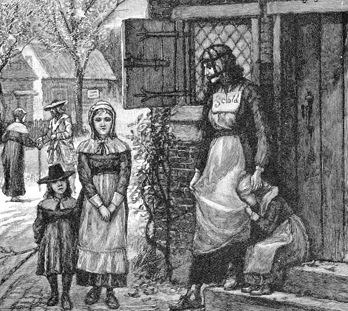 Наказанная женщина в «ругательской уздечке». Литография 1885 г.
