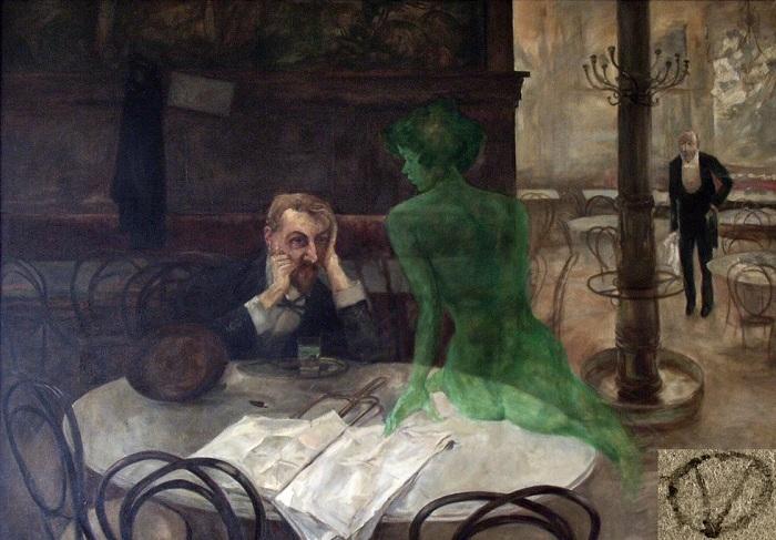 Пьющий абсент. В. Олива, 1901 год. | Фото: allday.com.