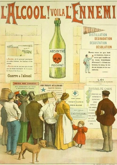 Абсент — яд. Плакат 1910 года. | Фото: allday.com.