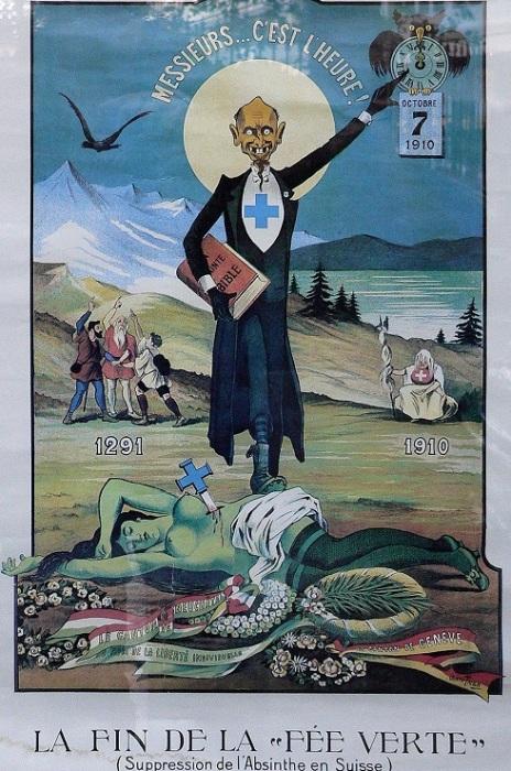 Смерть «Зелёной Феи». Плакат, выражающий недовольство запрещением абсента в Швейцарии. | Фото: allday.com.