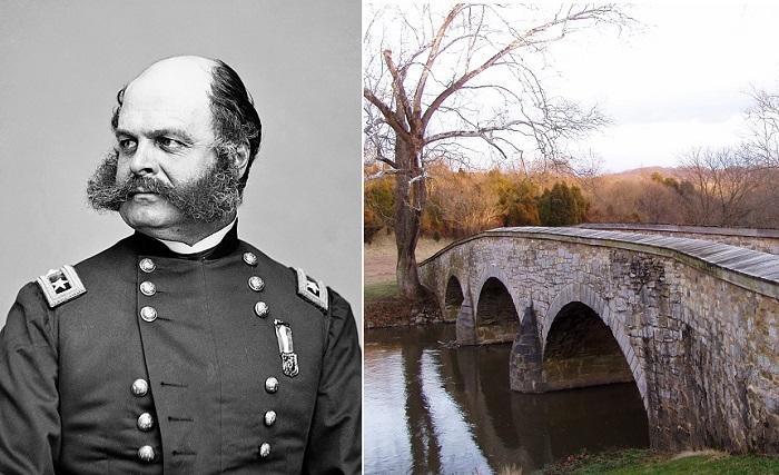 Генерал Эмброуз Бернсайд и Рорбахский каменный мост. | Фото: ru.wikipedia.org.
