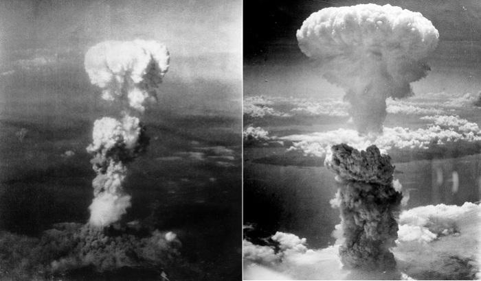 Ядерный гриб над Хиросимой (слева) и Нагасаки (справа). | Фото: ru.wikipedia.org.