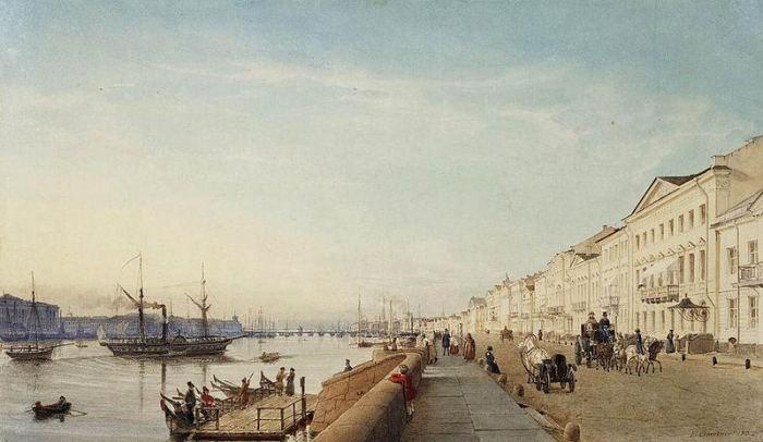 Английская набережная Санкт-Петербурга. Эдуард Гертнер, 1835 год. | Фото: fiveminutehistory.com.