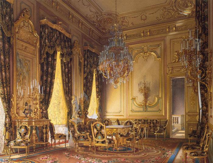 Золотая гостиная, 1870 год. | Фото: fiveminutehistory.com.