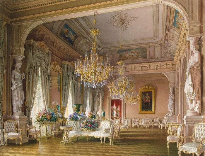 Белая гостиная, 1870 год. | Фото: fiveminutehistory.com.