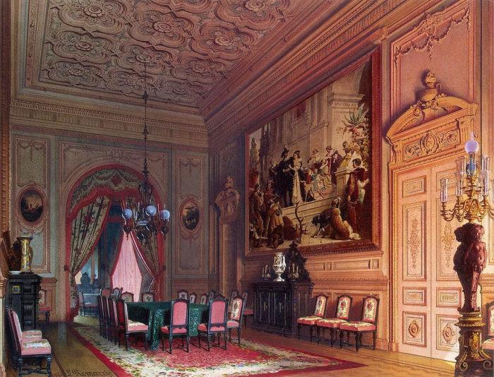 Обеденный зал, 1869 год. | Фото: fiveminutehistory.com.