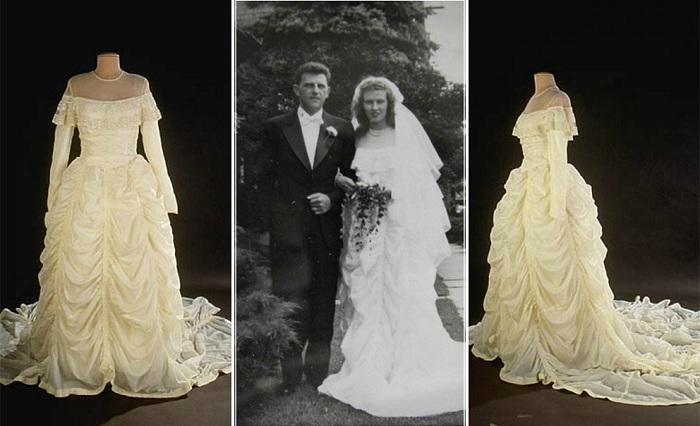 <br>Свадебное платье, которое было сшито из парашюта. | Фото: thevintagenews.com.