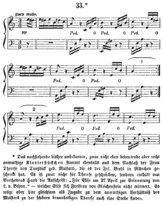Первая публикация «К Элизе» Бетховена в 1867 году. | Фото: thevintagenews.com.