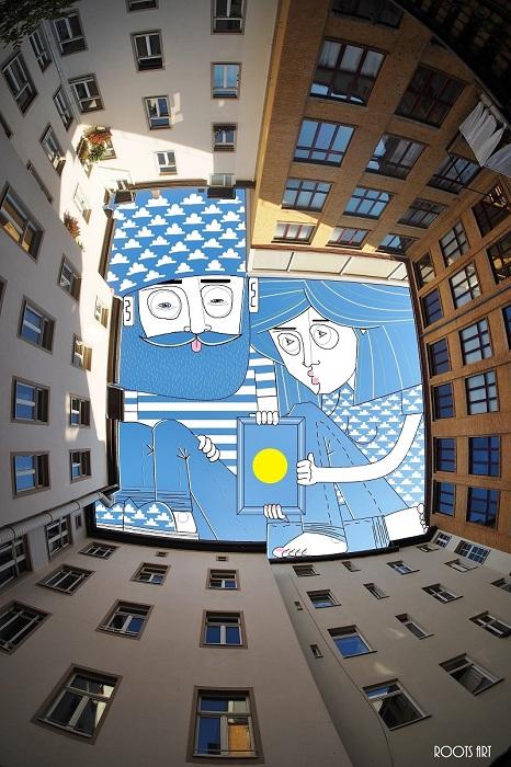 Забавные человечки, нарисованные на небосводе.