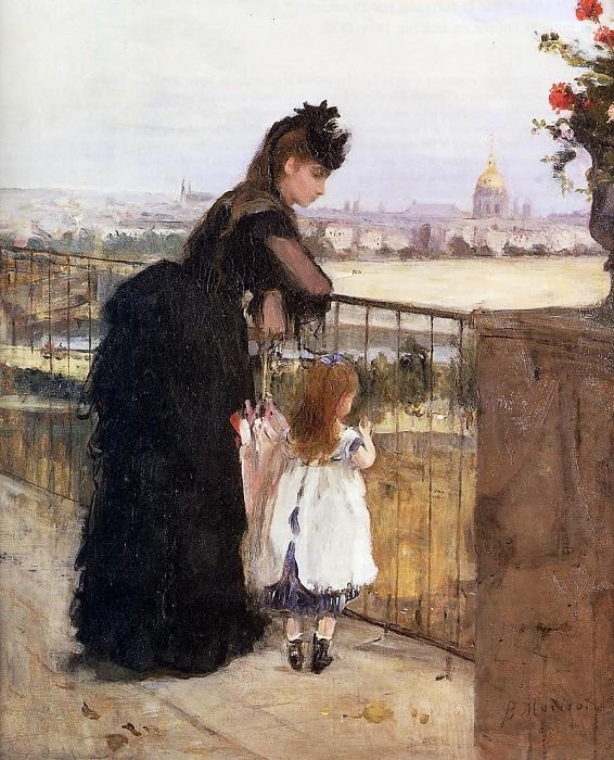 Женщина с ребенком на балконе. Б. Моризо, 1872 год. | Фото: fiveminutehistory.com.