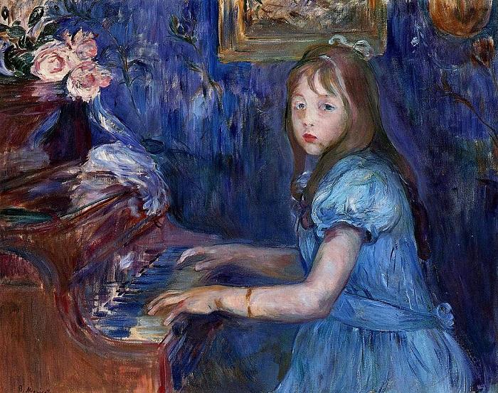 Люси Леон на фортепиано. Б. Моризо, 1872 год. | Фото: fiveminutehistory.com.