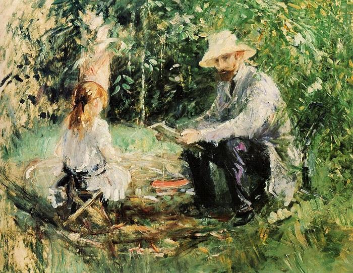 Эжен Мане с дочерью в саду. Б. Моризо, 1883 год. | Фото: fiveminutehistory.com.
