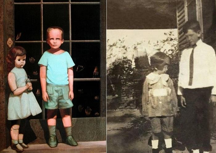 Слева: картина Билла Стоунхема, справа: художник, изображенный в 5-летнем возрасте.