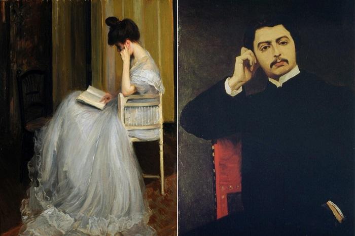 Женщина за чтением и портрет французского писателя Марселя Пруста, 1897 год. | Фото: sociallearningcommunity.com.