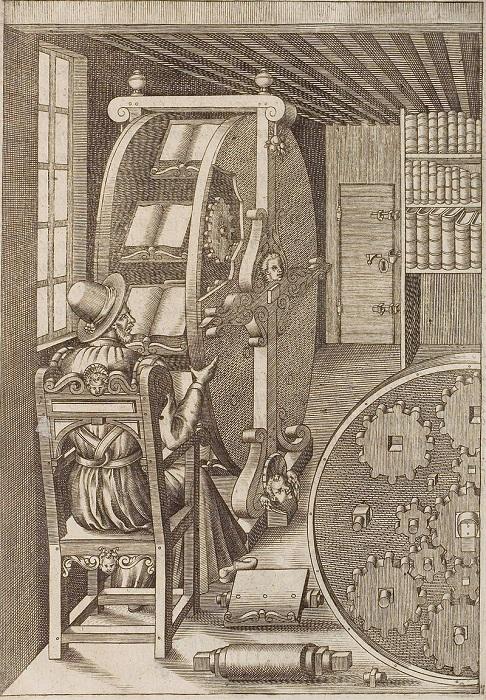 Книжное колесо. Иллюстрация из Leiversity et artifiose, 1588 году. | Фото: pikabu.ru.