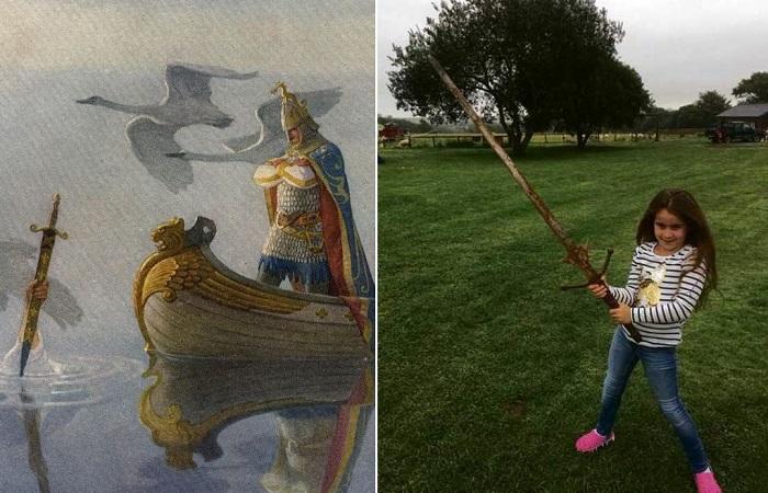 Девочка нашла в легендарном озере настоящий меч.