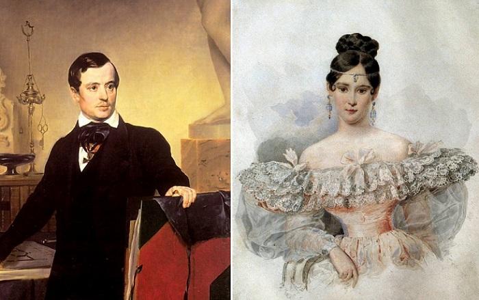 Слева: А. П. Брюллов, справа: портрет Н. Н. Пушкиной.