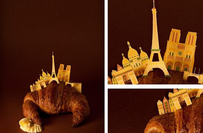 Круассан с достопримечательностями Парижа.