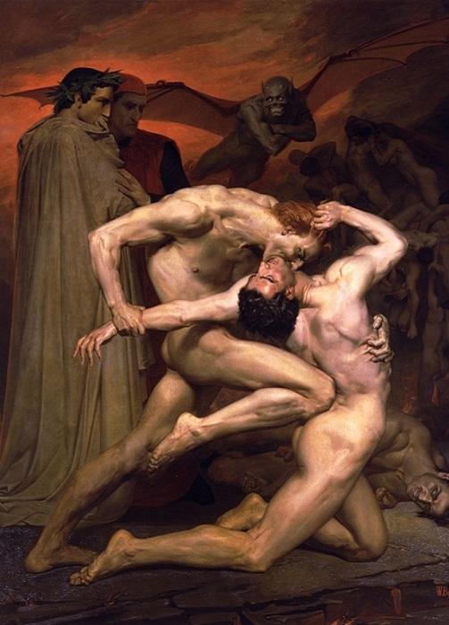 Данте и Вергилий в аду. В. Бугро, 1850 год. | Фото: artscroll.ru.