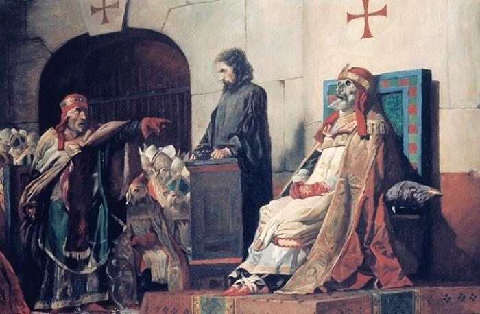Папы Формоз и Стефан VI - Трупный синод. Жан-Поль Лоранс, 1870. | Фото: bibliotheknemeton.de.