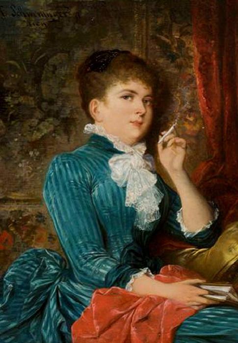 В викторианскую эпоху курение считалось полезным для здоровья. Худ. Карл Швенингер. | Фото: img1.liveinternet.ru.