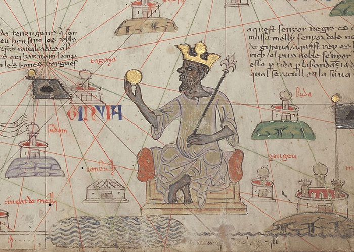 Изображение манса Муса, держащего золотой слиток, на Каталонском атласе. 1375 год. | Фото: commons.wikimedia.org.