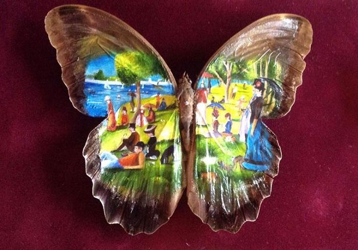 Мини-копии шедевров мировой живописи на крыльях бабочек.